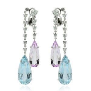 40Ct Amethyst Aquamarine Synt Diamond Chandelier Earrings White Gold Fnsh Silver