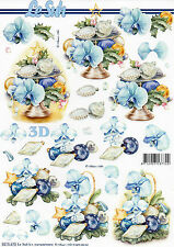 3D Motivbogen Etappenbogen Grußkarte Blumen Orchideen (299) Bastelbogen Basteln