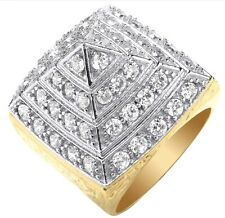 9ct Gold CZ Men's Pyramid Ring - Size V - 17 Grams - UK Jewellers