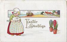 Vintage Postcard, Easter Greetings, Series 304D, Dutch Girl w/ Bunny Rabbit