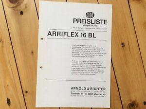 1982, Preisliste  Filmkamera Arriflex 16 BL