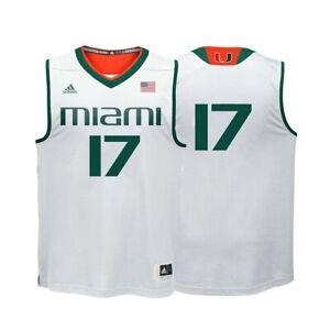 Miami Hurricanes NCAA Adidas #17 White Replica Basketball Jersey