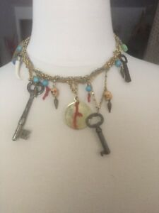 MADE HER THINK SKULL KEY HEART CORAL METAL CHARM NECKLACE MIAMI BOUTIQUE