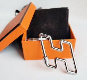 New in Box Authentic Hermes Silver H logo Key Chain Ring
