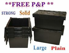 5 New Large Black Plastic Storage Crate Containers 80L