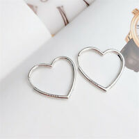 Authentic 100% 925 Sterling Silver HEARTS OF LOVE Hoop Earrings Small