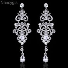 Gorgeous Silver Crystal Chandelier Long Drop Party Bridal Wedding Earrings