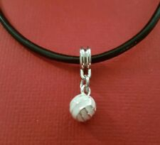 Netball Necklace on Leather Round 3D Ball on 45cm 18inch necklace
