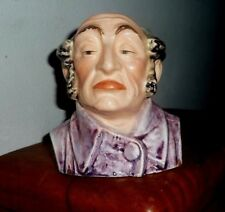 """Antique Majolica Character Toby Jug Pitcher 4 1/4"""" Tall open at top headvase"""