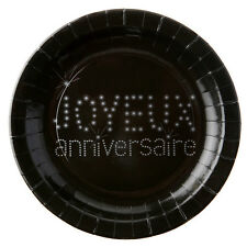 Assiette Anniversaire Noir x10