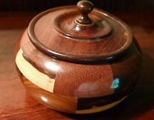 PARQUETRY MARQUETRY TEAK WOOD MATCH BOX PIPE TOBACCO HUMIDOR OLD ROUND VINTAGE