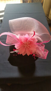 Fascinator - Pink sinamay with flower, feathers & beads mounted on a clip & pin