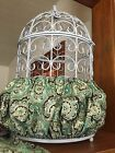 Handmade Green Brown Paisely Fabric Bird Cage Skirt Or Cover Seed Catcher Guard