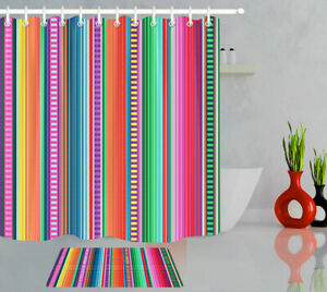 "Mexican Carnival Fiesta Stripes Fabric Shower Curtain Set Bathroom Decor 72x72"""