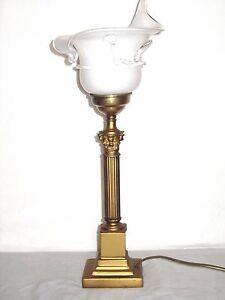 Antik  Messing-Glas  Tischlampe 1 Flammig 45 cm Hoch