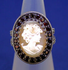 CAMEO SOLITAIRE & GARNET ACCENTS RING SOLID .925 STERLING SILVER 9.4g SIZE 6