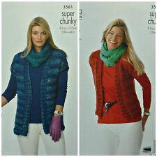 8d1190b1e47eb8 KNITTING PATTERN Ladies Easy Knit Sleeveless Waistcoats Super Chunky 3581