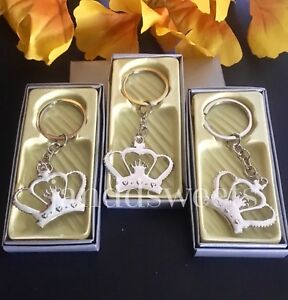 24PC Princess Sweet 16 Keychain Baby Shower Favors Quinceñera Recuerdos Crown