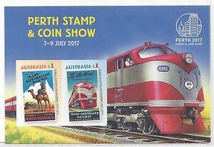 2017 Perth Stamp & Coin Show Trains Mini Sheet