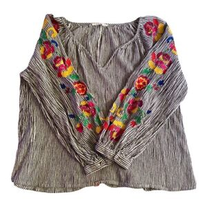 Anthropologie Floreat Embroidered Soleil Ladies Top Size Large