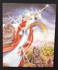 Fantasy White Unicorn and Sorcerer Vintage Poster / Print 16 x 20
