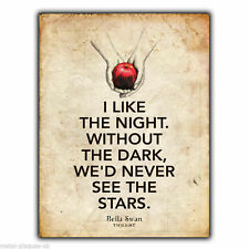 Letrero de metal placa de Pared Bella Swan Saga Crepúsculo libro presupuesto impresión de arte cartel