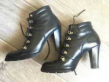 Michael Kors Black Leather Laced Booties Boots Heels Heeled 8.5