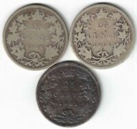 3 X CANADA 25 CENT QUARTERS QUEEN VICTORIA STERLING SILVER COIN 1874H 1900 1901