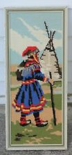 Vintage Framed Needlepoint Of Indigenous Person