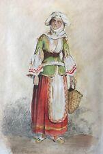 Femme Arabie orientaliste Aquarelle et crayon signée Henry de Monbaut XIXe