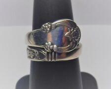 Vintage Sterling Silver Floral Scrolled Spoon Wrap Band Ring Adjustable 6 3/4