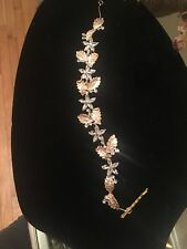 Bridal Floral Hair Vine Crystal Gold Leaf branch Wedding  Comb Headpiece