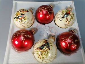 vintage x 6 boxed glass Christmas baubles tree decorations cream red bird design