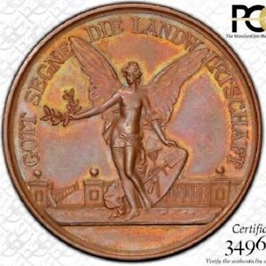 FINEST & ONLY ONE @ NGC & PCGS MS64 1898 GERMANY SIEGERLÄNDER MEDAL ANGEL TONED