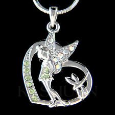 w Swarovski Crystal ~Green Tinker Bell Tinkerbell ANGEL dragonfly Heart Necklace