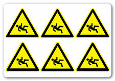 DANGER SLIPPERY SURFACE health and safety signs stickers  6No 50x50mm