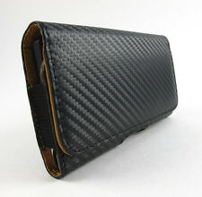 BLACK CARBON FIBER LEATHER BELT CLIP POUCH CASE LG G2 2013 PHONE ACCESSORY