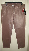 French Connection Pants Metallic Lilly Cropped Skinny Taupetastic $148 Size 10