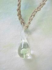 NEW GREEN Glass Mushroom Art Pendant Hemp Necklace SHROOM Handmade Jewelry Charm