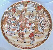 "BIG 14.9"" Japanese Satsuma Style Bowl with Kwan-Yin, Scholar's, Children & Gold"