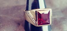 Beautiful Vintage 10K Yellow and White Gold, Diamond and Ruby Men's Ring size 10