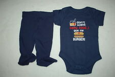Baby Boys I Dont Want Baby Food, Give Me A Burger! Navy Blue T-Shirt & Pants Nb