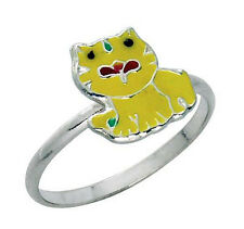 925 ECHT SILBER *** Kinder Ring Kinderring Katze Kätzchen gelb