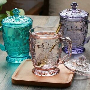 Water Cup Mug with Lid Handle Transparent Glass Embossed for Gift Home Office