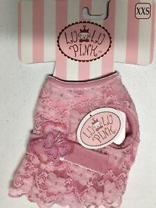 NEW Lulu Pink BOUTIQUE Lace & SOFT Velvet Dog Dress, XXS