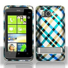 For HTC Thunderbolt 4G Protector Hard Case Snap on Phone Cover Blue Plaid