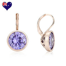 Bella Rose Gold Lavender Cubic Zirconia Drop/Dangle Earrings Wedding-Gift