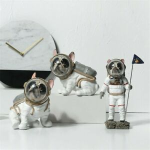 Creative Spaceman Bulldog Resin Figurine Dog Statue Home Decoration Kids Gift