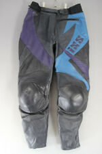 "IXS BLACK, SILVER, BLUE & PURPLE LEATHER BIKER TROUSERS WAIST 32""/INSIDE LEG 27"""