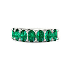 Natural 1.75Ct Emerald Gemstone Band Solid 14K White Gold Eternity Band Size J N